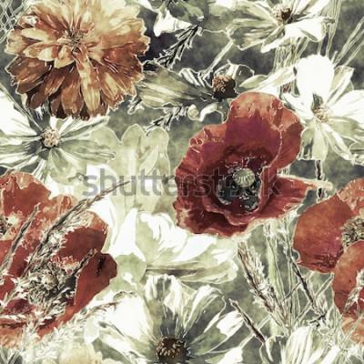 Canvastavlor konst vintage akvarell färgglada sömlösa blommönster med röda och vita vallmo, pioner, asters, blad och gräs på mörkgrön bakgrund