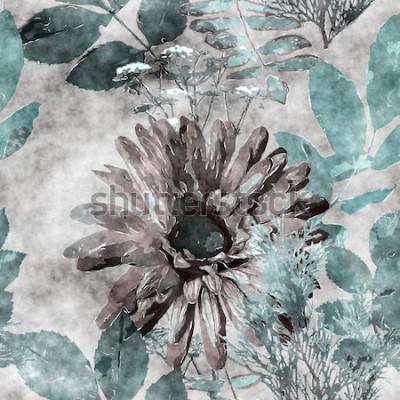 Canvastavlor konst vintage akvarell färgglada sömlösa blommönster med stora gerbera, blad och gräs på bakgrund