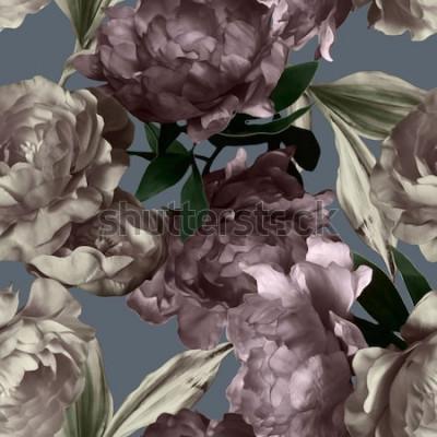 Canvastavlor konst vintage monokrom grafik och akvarell sömlös blommönster med vita och lila pioner på grå bakgrund