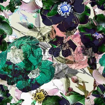 Canvastavlor konst vintage penna blommiga färgglada sömlösa mönster med svarta rosor och gröna vallmo på ljus bakgrund. Dubbel exponering och Bokeh-effekt