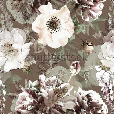 Canvastavlor konst vintage penna blommor färgglada sömlösa mönster med vita rosor och pioner på grön bakgrund. Dubbel exponering och Bokeh-effekt