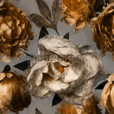 Canvastavlor konst vintage sömlös blommönster med vita och guldpioner på grå bakgrund