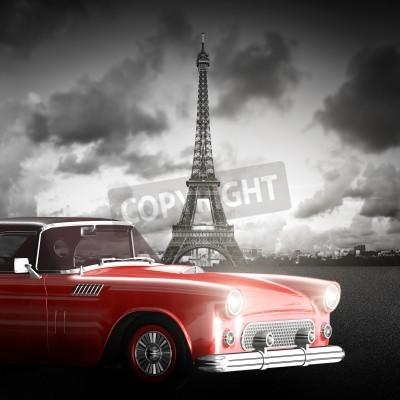 Canvastavlor Konstnärlig bild av Eiffeltornet, Paris, Frankrike och röd retro bil.