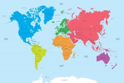 Canvastavlor Kontinenter i världen och politiska kartan
