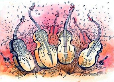Canvastavlor kontrabas musik