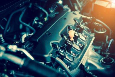 Canvastavlor Kraftfull motor i en bil. Intern design av motor med förbränning och ventil i mörk ton