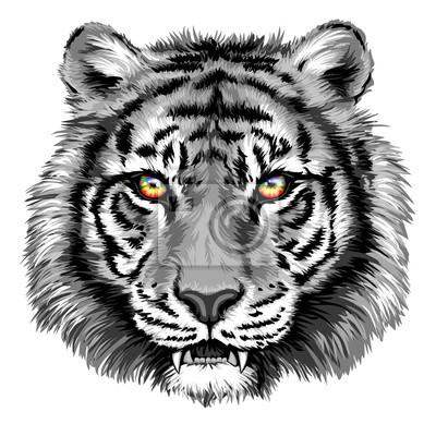 Canvastavlor Kraftfull tiger med klara ögon