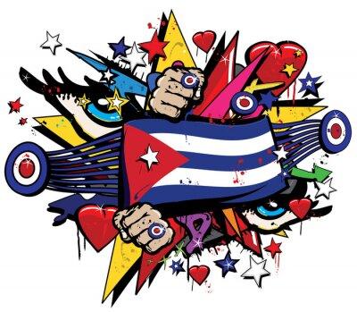 Canvastavlor Kuba flagga Havana graffiti banner graff emblem gatukonst streamer jack ensign färgad kubanska revolution graff vektor sprut