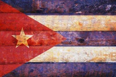 Canvastavlor Kuba flaggan i gamla trä.