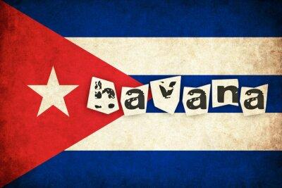 Canvastavlor Kuba grunge flagga illustration av land med text