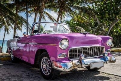 Canvastavlor Kuba Varadero oldtimer parkerade nära stranden