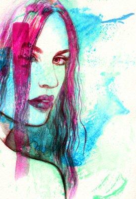 Canvastavlor Kvinna ansikte. Abstrakt akvarell illustration