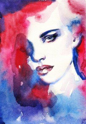 Canvastavlor Kvinna ansikte. Handmålade modeillustration