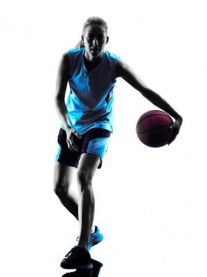 Canvastavlor kvinna basketspelare silhuett