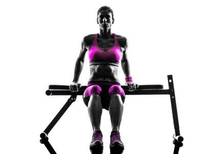 Canvastavlor kvinna fitness armhävningar utövar silhuett