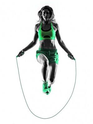 Canvastavlor kvinna fitness hoppa rep övningar silhuett