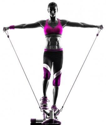 Canvastavlor kvinna fitness steg motstånd band övningar