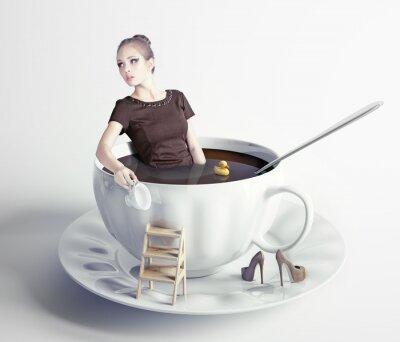 Canvastavlor kvinna i kopp kaffe