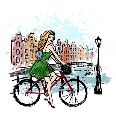 Canvastavlor kvinna kör cykel