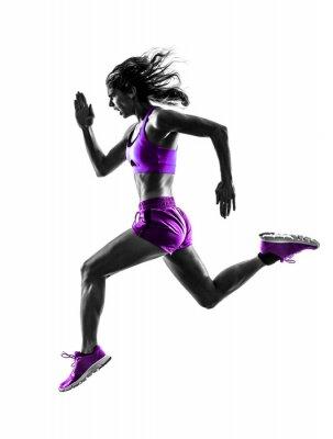 Canvastavlor kvinna löpare rinnande jogger jogging silhuett