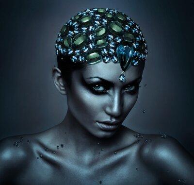 Canvastavlor kvinna med ädelsten huvud