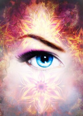 Canvastavlor Kvinna ögon och mandala, abstrakt bakgrundsfärg och öken spraka.