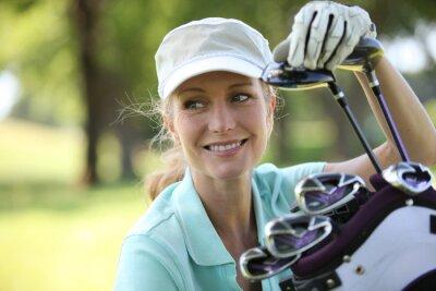 Canvastavlor Kvinna på golfbanan