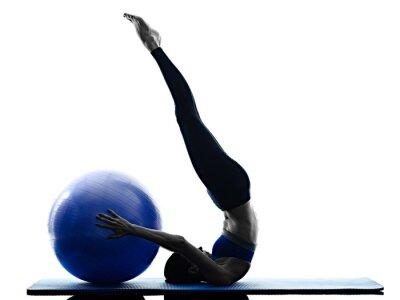 Canvastavlor kvinna pilates boll övningar fitness isolerade