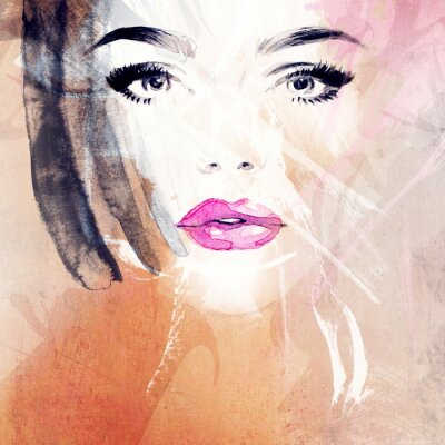 Canvastavlor kvinna porträtt .abstract vattenfärg