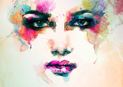 Canvastavlor kvinna porträtt .abstract vattenfärg .fashion bakgrund