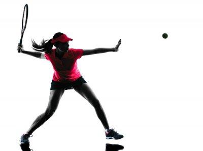 Canvastavlor kvinna tennisspelare sorg silhuett
