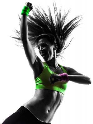 Canvastavlor kvinna utövar fitness zumba dans silhuett