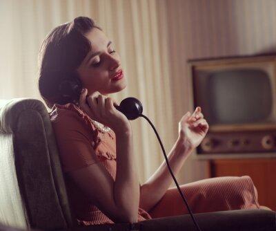 Canvastavlor Kvinna vid telefonen