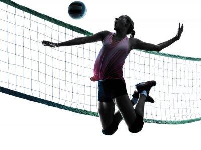 Canvastavlor kvinna volleyboll spelare isolerade silhuett