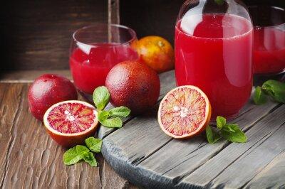 Canvastavlor Läcker juice med röda apelsiner och mynta