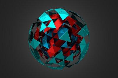 Canvastavlor Låg Poly Metal Sphere med kaotiska struktur.
