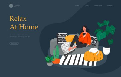 Canvastavlor Landing page template with girl sitting and resting on the couch with a cat and coffee. Daily life and everyday routine scene by young woman in scandinavian style cozy. Cartoon vector