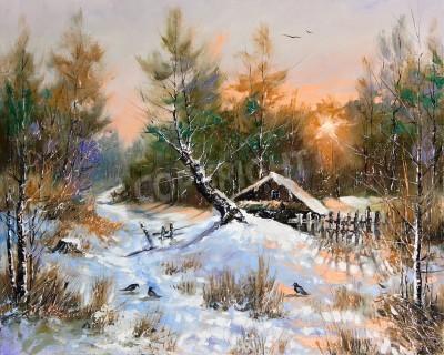 Canvastavlor Landsbygdens vinterlandskap