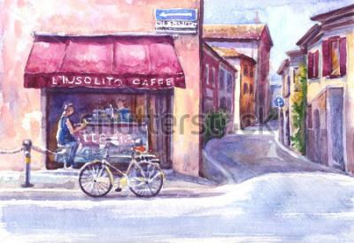 Canvastavlor Landskap. Gata i gamla stan.Italien. Akvarell skiss.