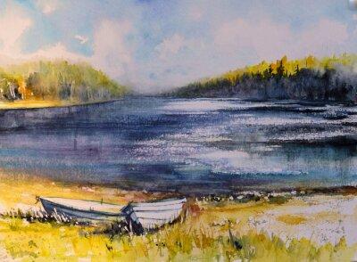 Canvastavlor Landskap med fiskebåtar på sjön. Bild skapad med akvareller.
