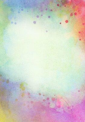 Canvastavlor Lätt abstrakt blå, stänk grönt målad vattenfärg för bakgrund