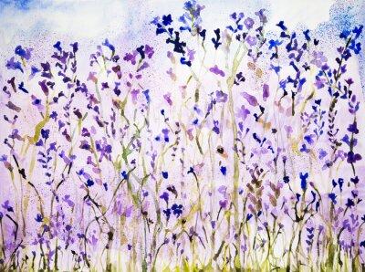 Canvastavlor Lavendel med prickar. Den badda teknik ger en mjuk fokus effekt på grund av den förändrade ytjämnhet av papperet.