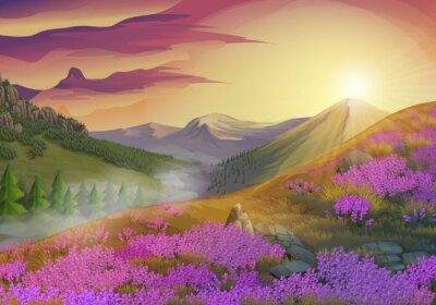 Canvastavlor Lavendel, sommarkväll landskap, vektor bakgrund