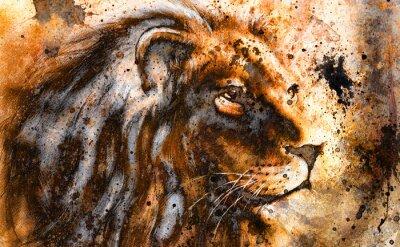 Canvastavlor lejon collage på färg abstrakt bakgrund, rost struktur,