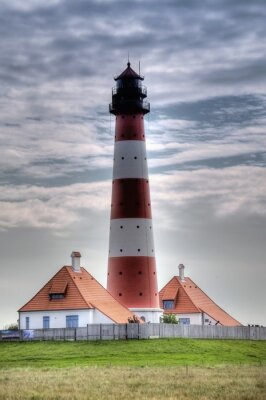 Canvastavlor Leuchtturm Westerheversand i Westerhever
