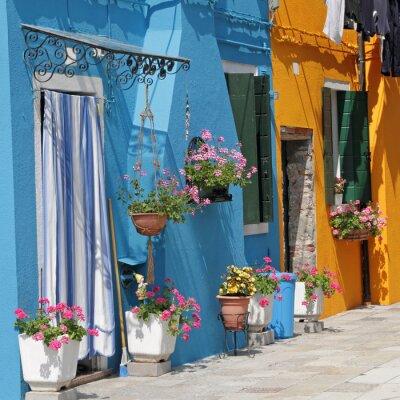 Canvastavlor levande målade hus i Burano by, Venedig