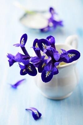 Canvastavlor Lila iris blommor i en vintage cup