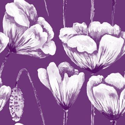 Canvastavlor Lila och vitt vallmo mönster