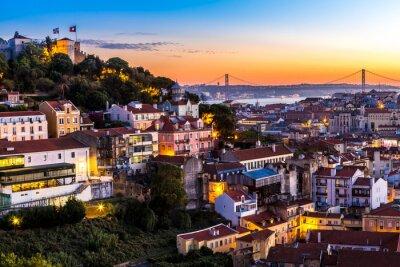Canvastavlor Lissabon på nigth