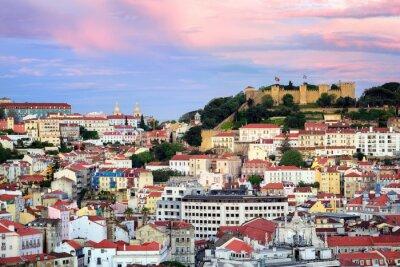 Canvastavlor Lissabon, Portugal, i syfte att Alfama kvartalet och St. Jorge Castl